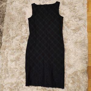 Talbots Tartan Plaid Lace Embroidered Sheath Dress